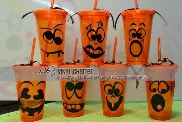 DIGITAL DOWNLOAD - a finished photo showing how the pumpkin face designs @ My Vinyl Designer can be used on plastic tumblers (https://www.myvinyldesigner.com/Products/halloween-collection-addon-p5.aspx) #vinyl vectors