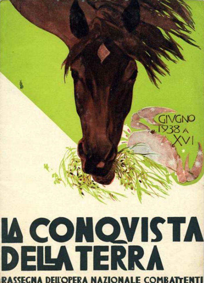 Duilio Cambellotti (1876-1960, Italy), June 1938, La Conquista della Terra (The conquest of the Earth), Woodcut, Magazine cover published by the Fascist organization 'Opera Nazionale Combattenti' between 1935 &1939.