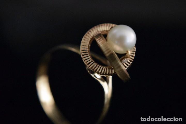 LIQUIDACIÓN, Sortija anillo solitario con Perla en oro 18K - Foto 1