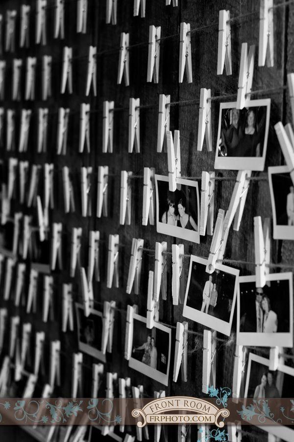 Wisconsin-Texas Wedding – Trista & Alton! » Milwaukee Wedding Photography – Front Room Photography Milwaukee Photographer - reception details - diy wedding - clothespin wall - polaroids - guest book ideas - wedding reception fun