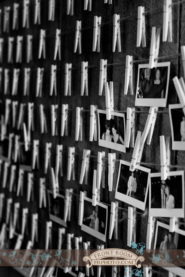 Wisconsin-Texas Wedding – Trista & Alton! » Milwaukee Wedding Photography – Front Room Photography Milwaukee Photographer - reception details - diy wedding - clothespin wall - polaroids - guest book ideas - wedding reception fun - info@frphoto.com