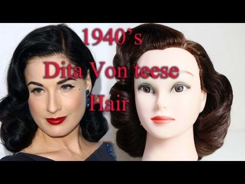 ▶ 1940's Dita Von Teese inspired hair by Yasmine Alom - YouTube