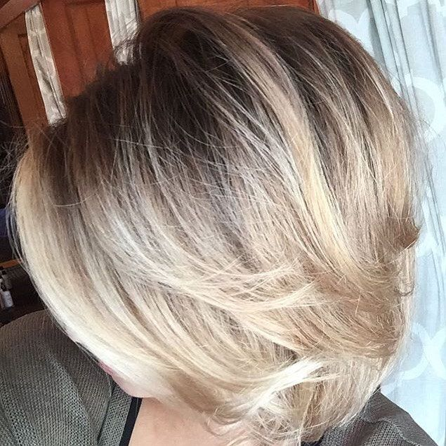 Shadowed roots and balayage by Jessica! #balayage #blonde #painted hair