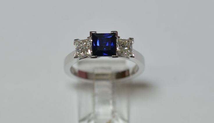 Beautiful Australia Blue sapphire and diamond eternity ring