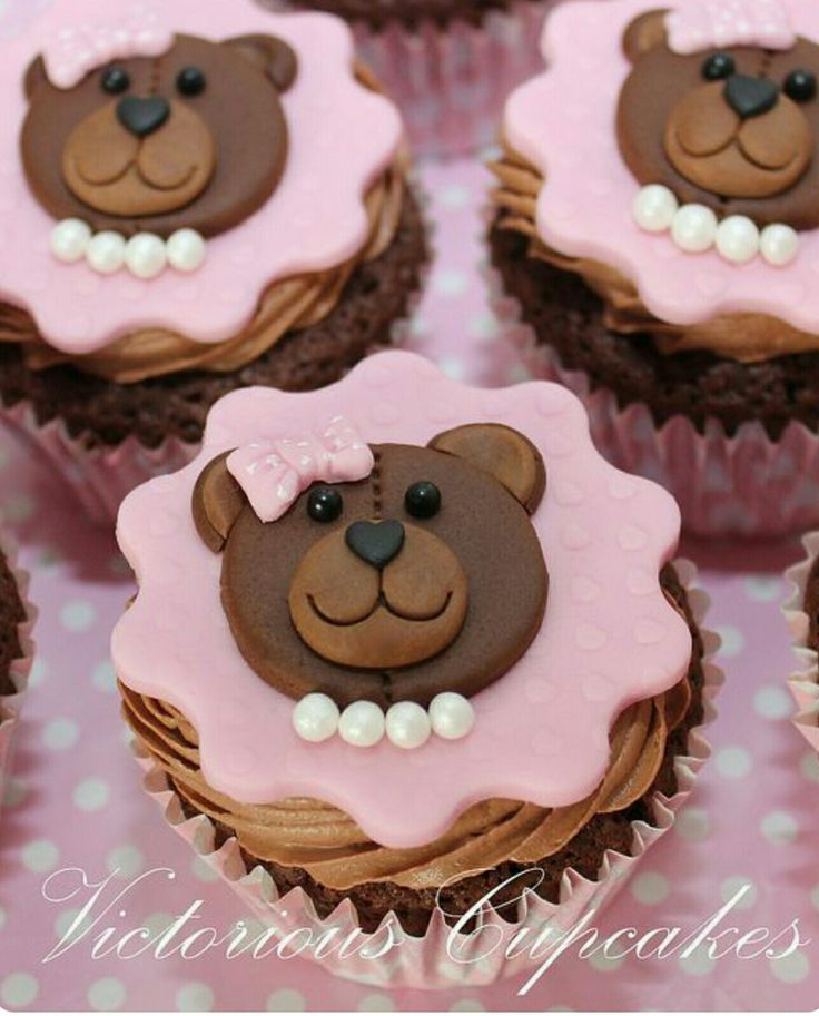 Girl teddy bear cupcake toppers
