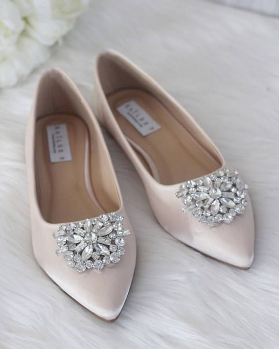 Champagne Satin Pointy Toe Flats With Oversized Rhinestones Brooch