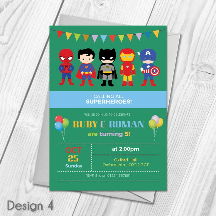Personalised Childrens Superhero Birthday Party Theme Invitations & Envelopes  Custom Made With Your Own Text & Photo  All orders include FREE UK 1st Class Royal Mail delivery