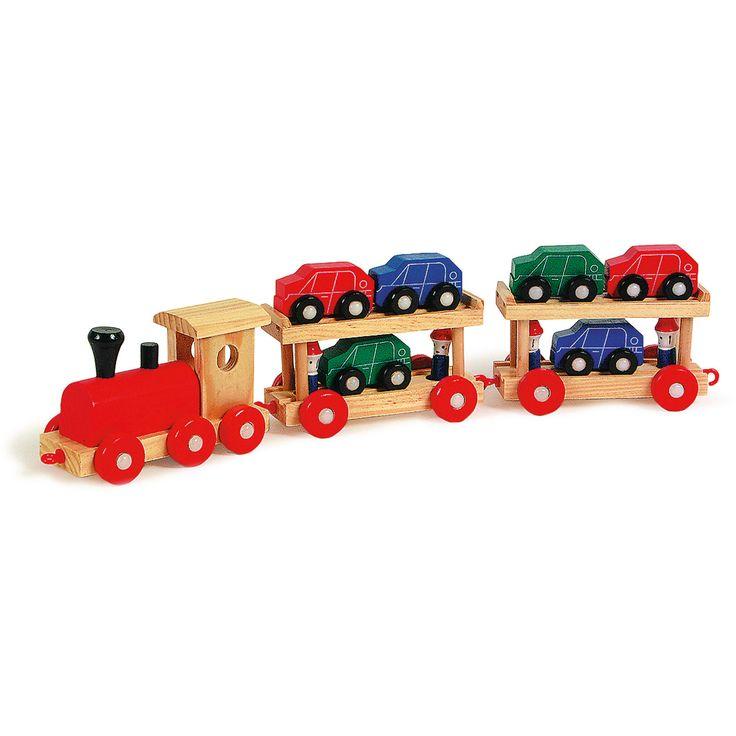 Trenulețul din lemn este jucăria ideală pentru copiii pasionați de mașinuțe. Trenulețul dispune de 2 remorci stabile și 6 mașinuțe colorate, gata pentru a ajunge la destinație.