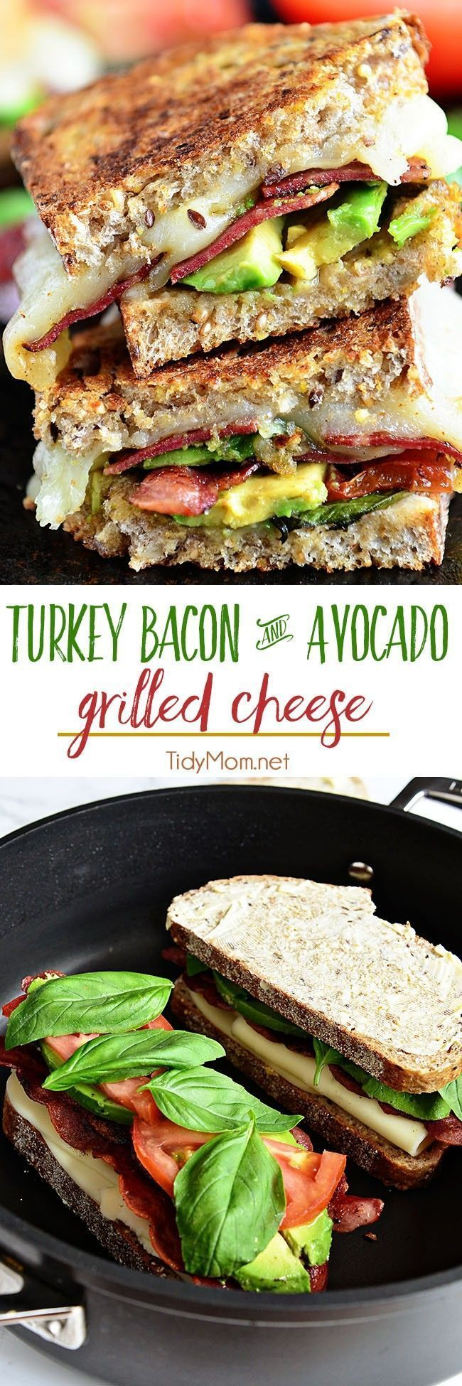 Turkey Bacon and Avocado Grilled Cheese sandwich loaded with fresh basil, tomatoes and mozzarella cheese on a hearty artisan bread.