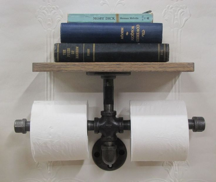 Farmhouse Chic Iron Pipe Toilet Paper Holder with Wood Oak Shelf