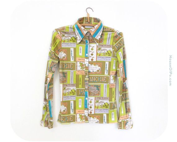 70s multicolor blouse vintage 1970s blouse by PoVintage on Etsy, €22.00