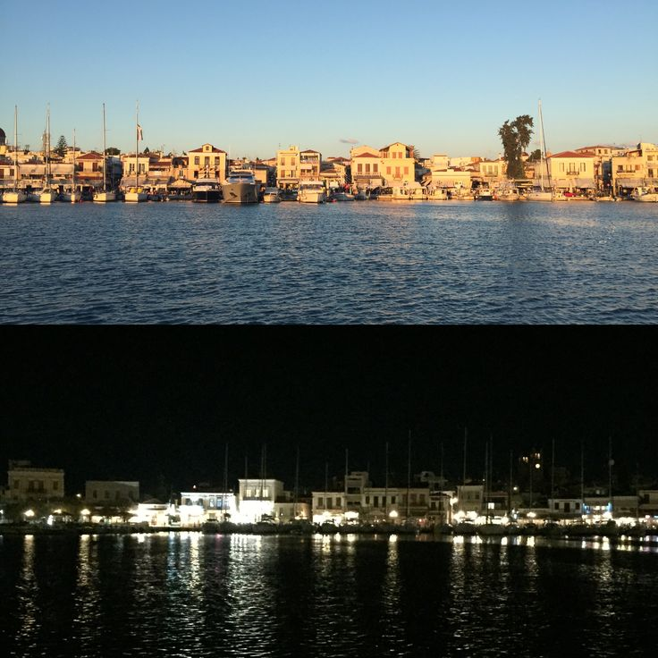 The island of Egina by day/by night