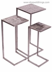 Metal Nesting Tables, Set Of 3   Brushed Nickel Finish