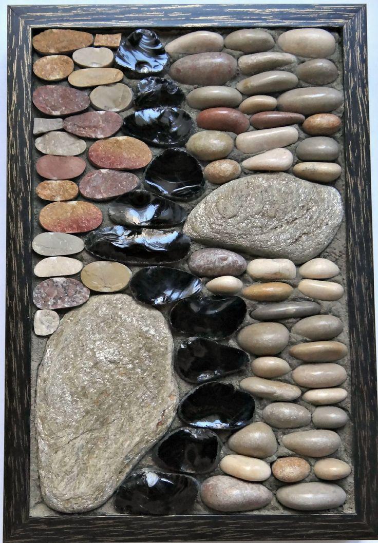 Petit tableau mosaïque galets zen, décoration unique : Mosaiques par droles-d-eclats
