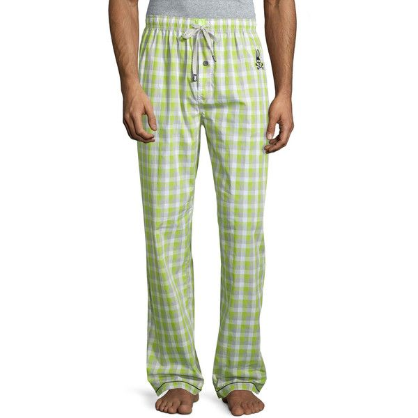 Psycho Bunny Plaid Lounge Pants (2230 RSD) ❤ liked on Polyvore featuring men's fashion, men's clothing, men's sleepwear, macaw gree and psycho bunny
