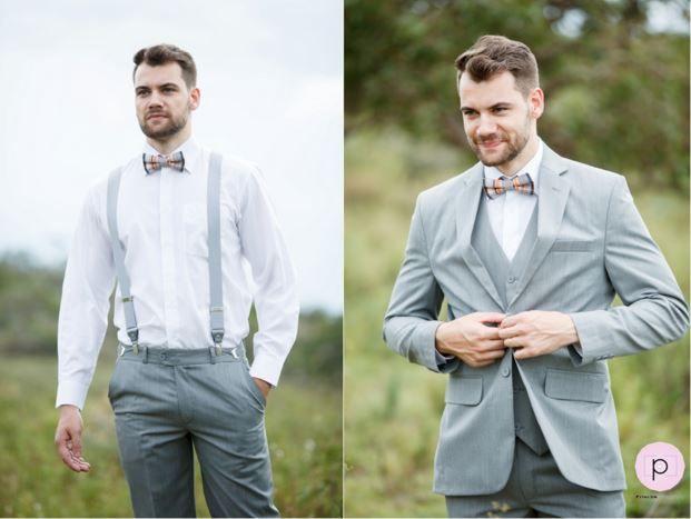 Terno cinza claro, suspensório e gravata borboleta xadrez. #ModaMasculina…