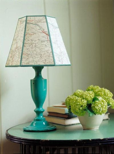 map lampshade- I have an Eiffel tower lamp that I like but it doesn't match anything. I think I'll make it a Paris map lampshade---off to ebay for maps!