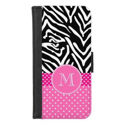 Monogram Zebra with Hot Pink Polka Dot Pattern iPhone 8/7 Wallet Case - diy cyo customize create your own #personalize