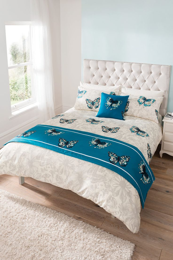 Beautiful butterfly bedding and co-ordinates. Consists of duvet sets (single with 1 pillowcase, double, king size with 2 pillowcases), a runner and a square cushion cover. 100% polyester. Machine washable. Button fasteners. FREE DELIVERY on orders over £50.