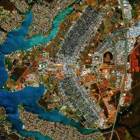 Brasilia      The city was founded on April 21, 1960 in order to move the capital from Rio de Janeiro to a more central location within Brazil.      The design resembles an airplane from above.      Credit: Daily Overview | Satellite images © 2015, Digital Globe, Inc.  YOP is awarding $2500 grants to help teens fuel their passion for positive change. Learn how to fuel them at yopfuels.ca Sponsored by Yop Daily Overview - Sensational Earth-gazing - Pictures - CBS News