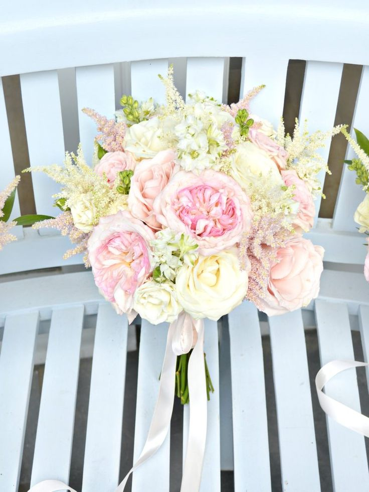 Blush Pink And Cream David Austin Avalanche Rose Astilbe Bridal Bouquet Bridesmaids With Long