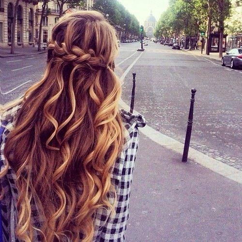 Beautiful wavy beach braided hair