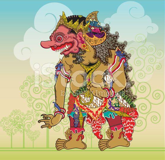 Kumbokarno puppet characters in the Ramayana story royalty-free stock vector art
