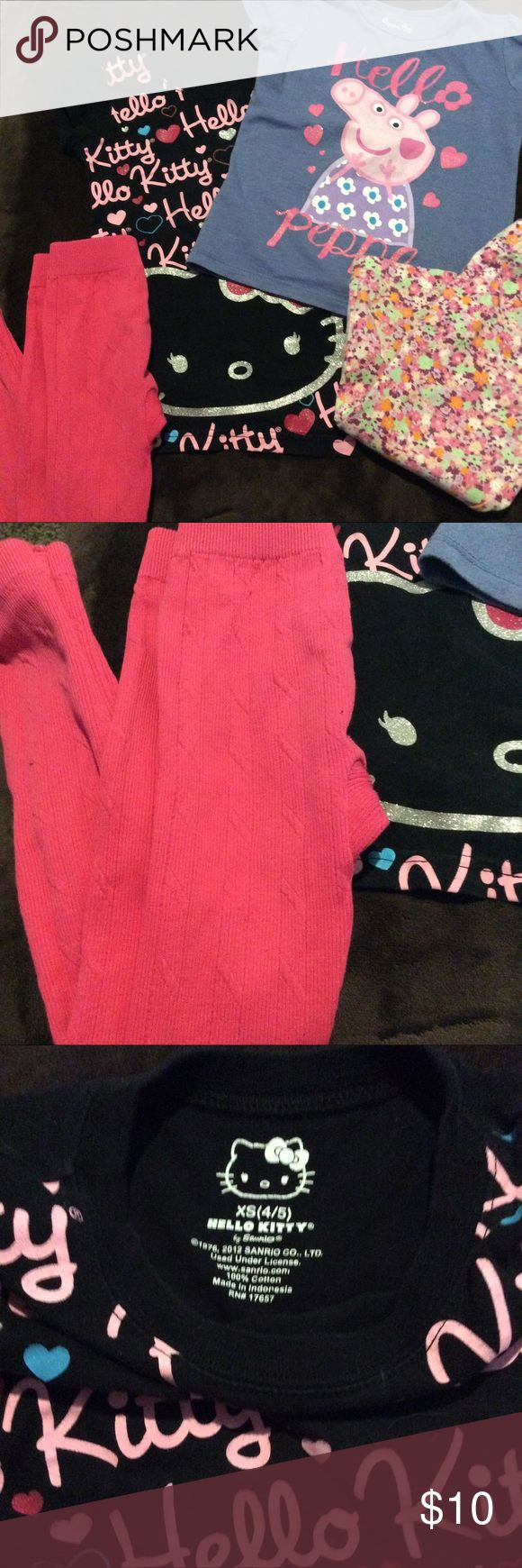 Girls bundle Bundle of girls clothes hello kitty tee is a 4/5. hot pink leggings are a 4-6. Peppa top is 5t and floral leggings are a 5. All are about the same size and all are in really good condition Matching Sets