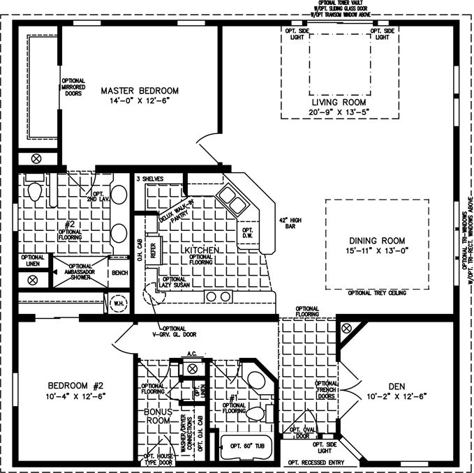 The tnr 7401 manufactured home floor plan jacobsen for 1600 square feet house plans