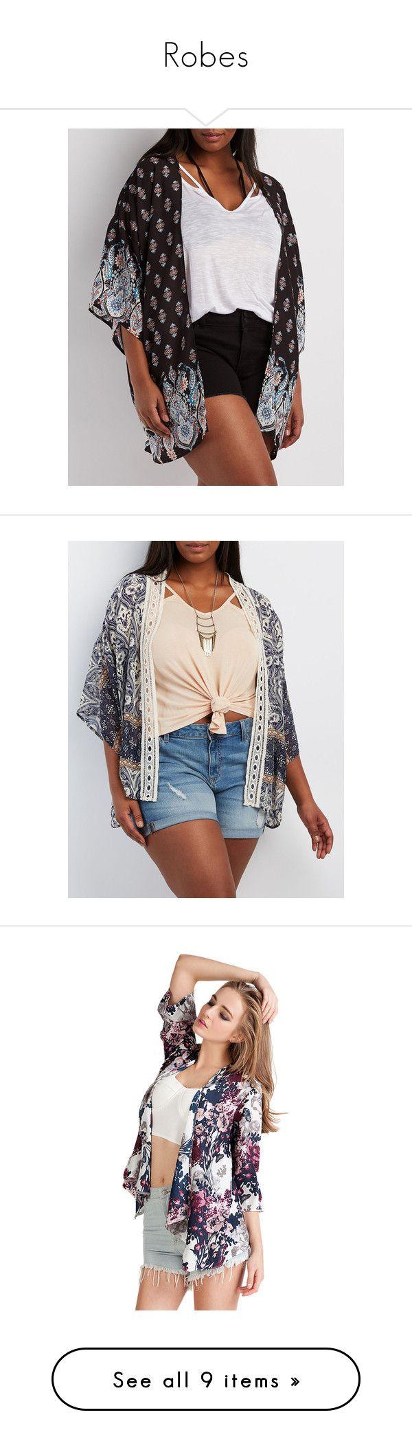 """Robes"" by sharoncowdery ❤ liked on Polyvore featuring plus size women's fashion, plus size clothing, plus size intimates, plus size robes, black combo, chiffon kimono, sheer kimono robe, plus size kimono, chiffon slip and sheer robe"