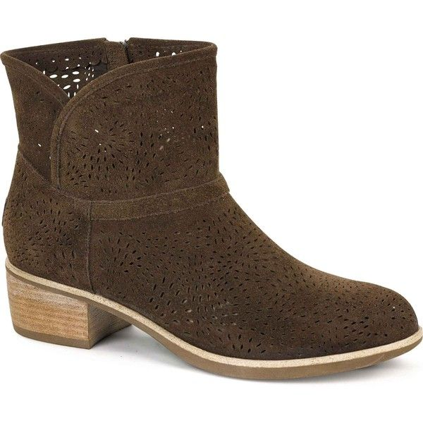 UGG Women's Darling Seaweed Perf Chocolate Boots ($150) ❤ liked on Polyvore featuring shoes, boots, ankle booties, ankle boots, brown, ugg boots, brown leather booties, leather booties, brown high heel boots and brown leather ankle booties