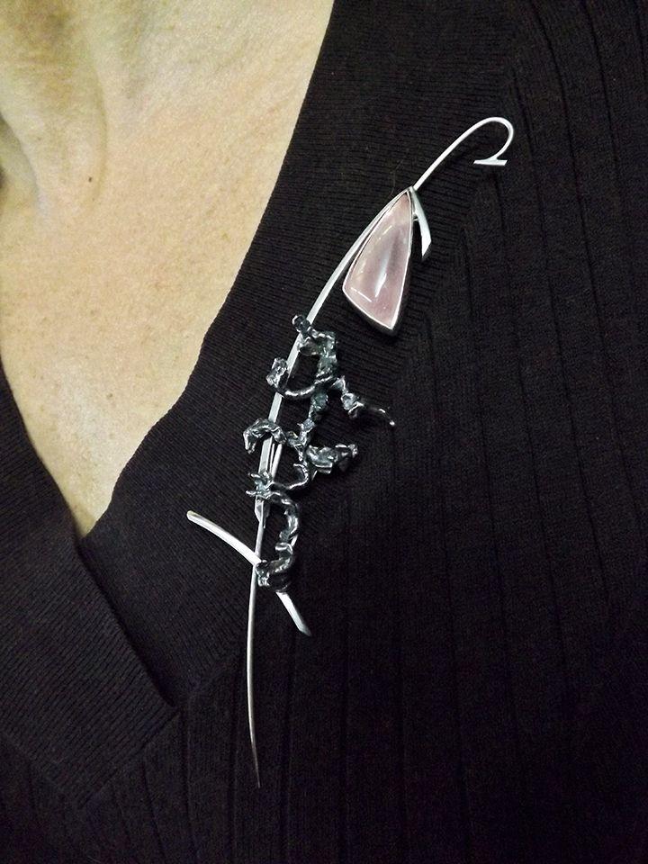 Fish, brooch- pendant, by Bon Ton Joyaux -sterling silver, rose quartz