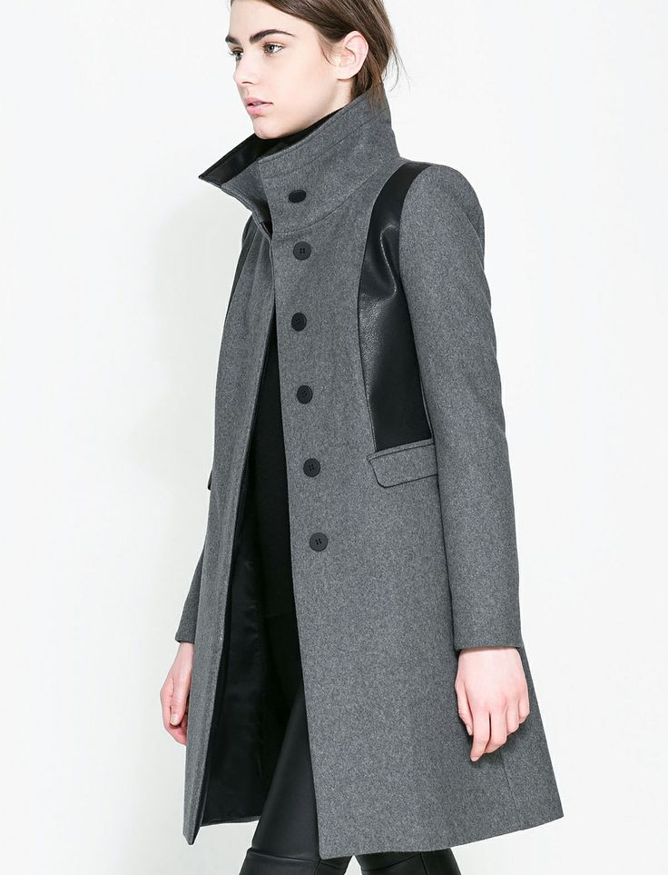 Grey Contrast PU Leather Pockets Woolen Trench Coat