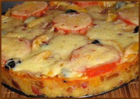 Русская пицца (запечённый большой бутерброд)