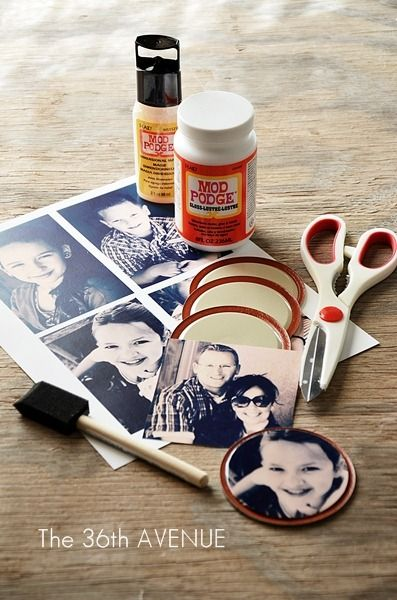 Make these tiny picture magnets by using Mod Podge to paste family photos onto a lid. After it's done drying, attach a small, round magnet to the back on the lid to hang your photo on any magnetic surface.