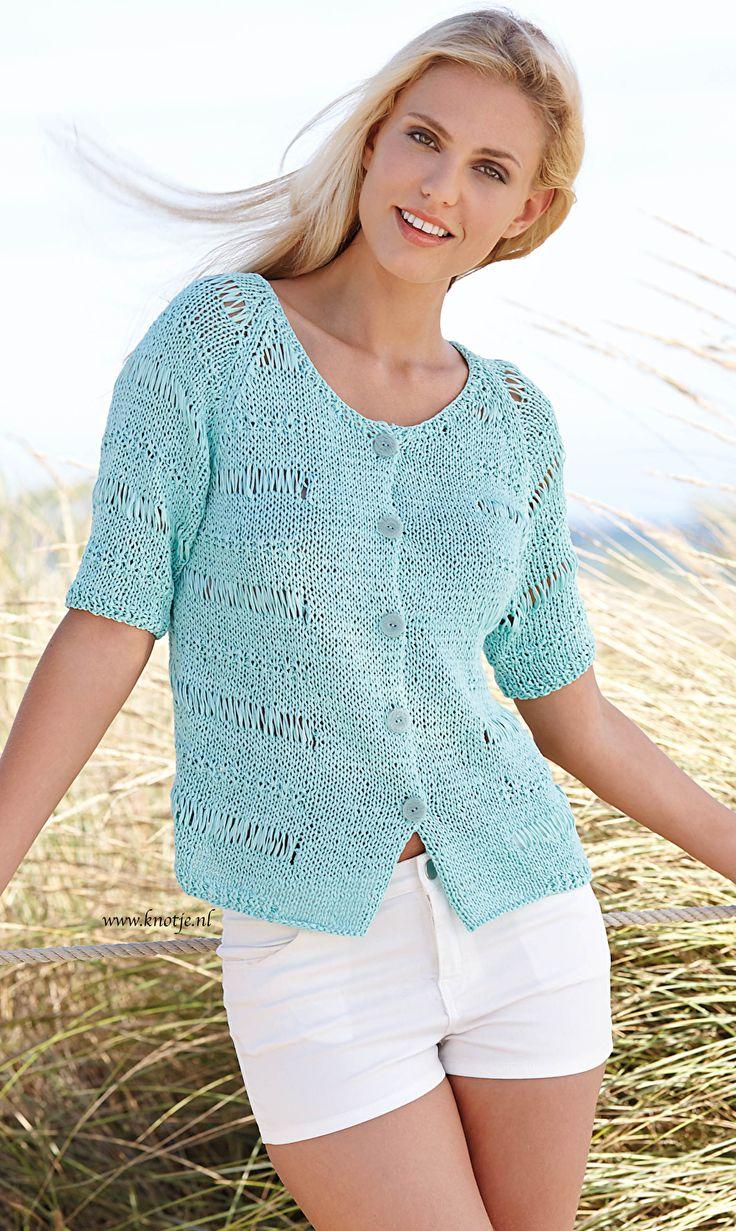 Breien. Dit vest is gemaakt met Katia Tahiti. Een luchtig en zomers lintgaren, gemaakt van 100% gekamd en gemerceriseerd Katoen. U ontvangt GRATIS het patroon bij uw bestelling.