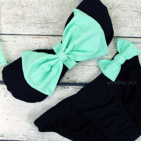 Mint beach bikini pistachio summer style with big bow