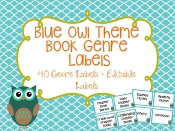 These book genre labels are great to put on the ends of your bookshelves or each bucket that you have your books in.
