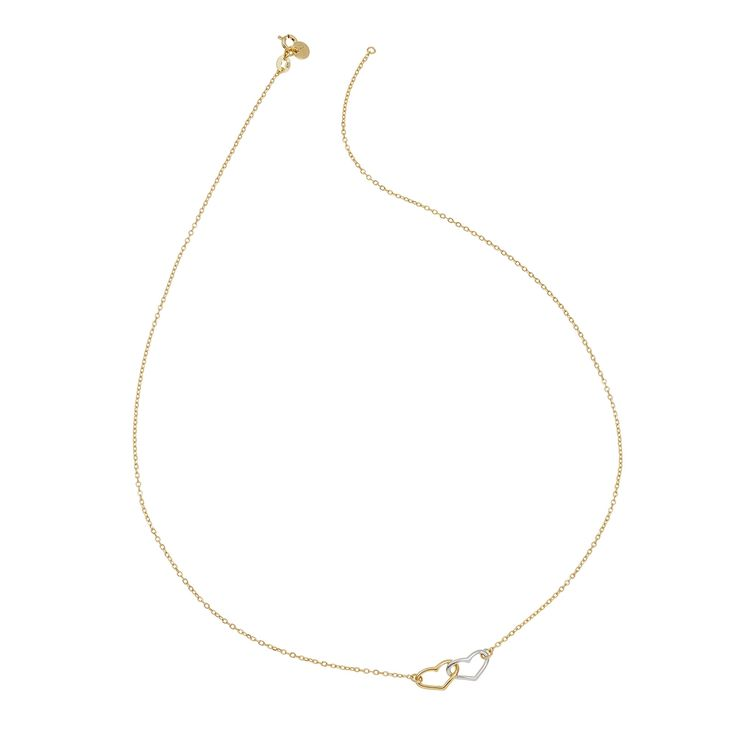 Open double hearts necklace in 18ct gold-plated sterling silver | hardtofind.