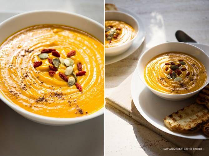 Słodka zupa-krem z pieczonej dyni hokkaido, na mleku kokosowym