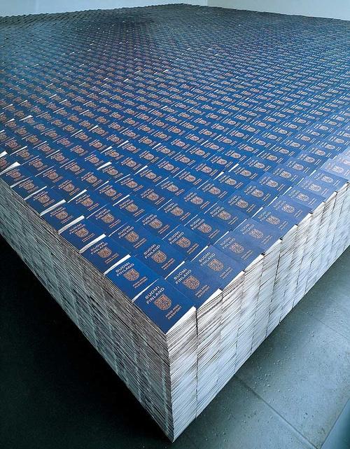 Alfredo Jaar - One Million Finnish Passports (1995) One million replicated Finnish passports, glass, 800 x 800 x 80 cm.