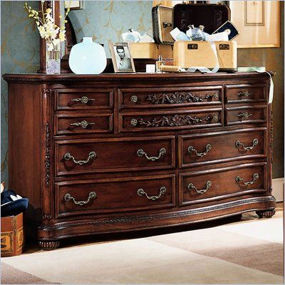 Lea Jessica Mcclintock Heirloom 7 Drawer Double Dresser With Dark Cherry Wood Finish