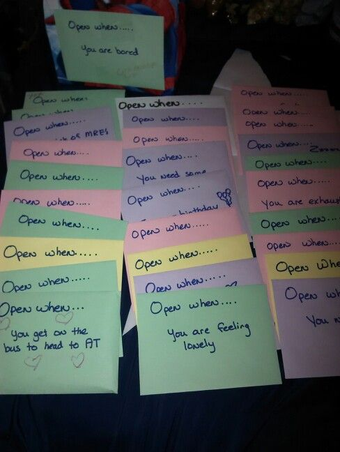 my open when letters i made for my hubby to take with him to his annual