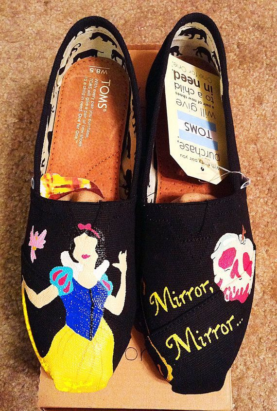Hand Painted Snow White Toms by KicksByClutch on Etsy, $80.00