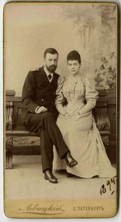 """Engagement photograph of Grand Duke Alexander (""""Sandro"""") Mikhailovich & Grand Duchess Xenia Alexandrovna, 1894"""