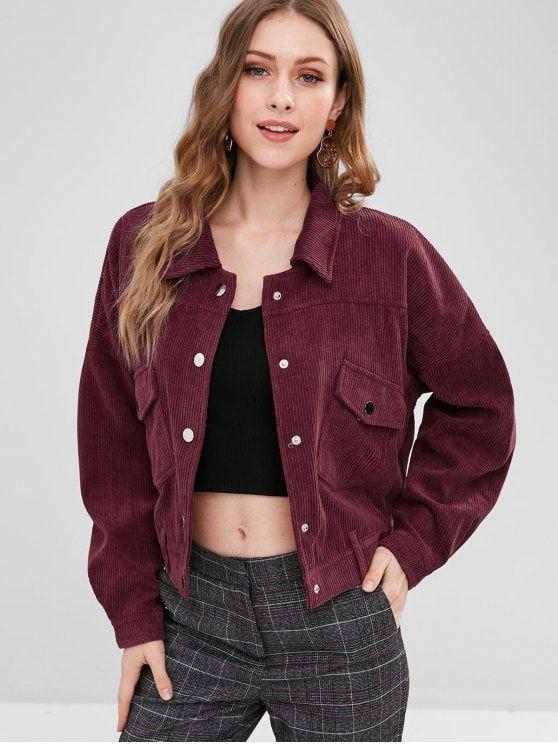 Drop Shoulder Pocket Corduroy Jacket Red Wine S Zaful Outfit