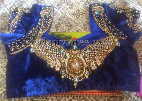 Blue Velvet Designer Blouse with Work | Saree Blouse Patterns