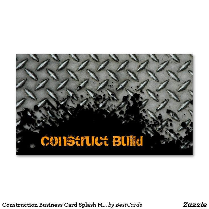 Construction Business Card Splash Metal Transport