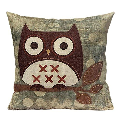 Home Cotton Linen Owl Pillow Case Room Decoration Sofa Cushion Cover Type 2 -- Read more reviews of the product by visiting the link on the image. (Note:Amazon affiliate link)