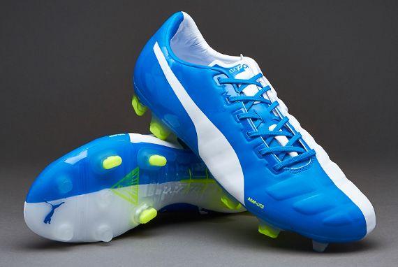 Puma Football Boots - Puma evoPOWER1 Cesc FG - Firm Ground - Soccer Cleats - White-Blue - 103690-01
